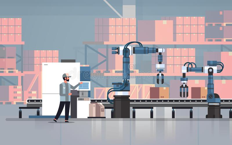 Man engineer controlling conveyor belt line robotic hands factory automation production manufacturing process concept stock illustration
