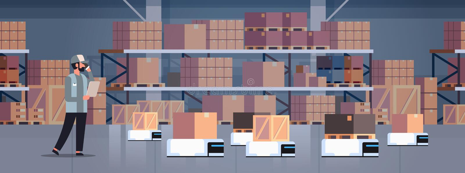 Man engineer controlling robot car delivery product factory automation production concept modern warehouse room interior vector illustration