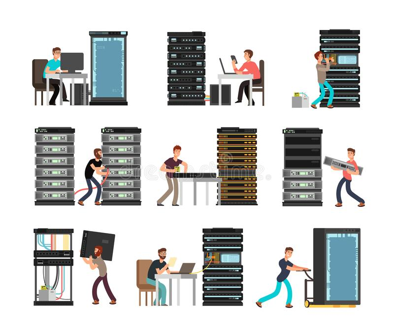 Man engineer, technician working in server room. Digital computer center support, data storage. Vector cartoon. Characters set. Illustration storage system royalty free illustration