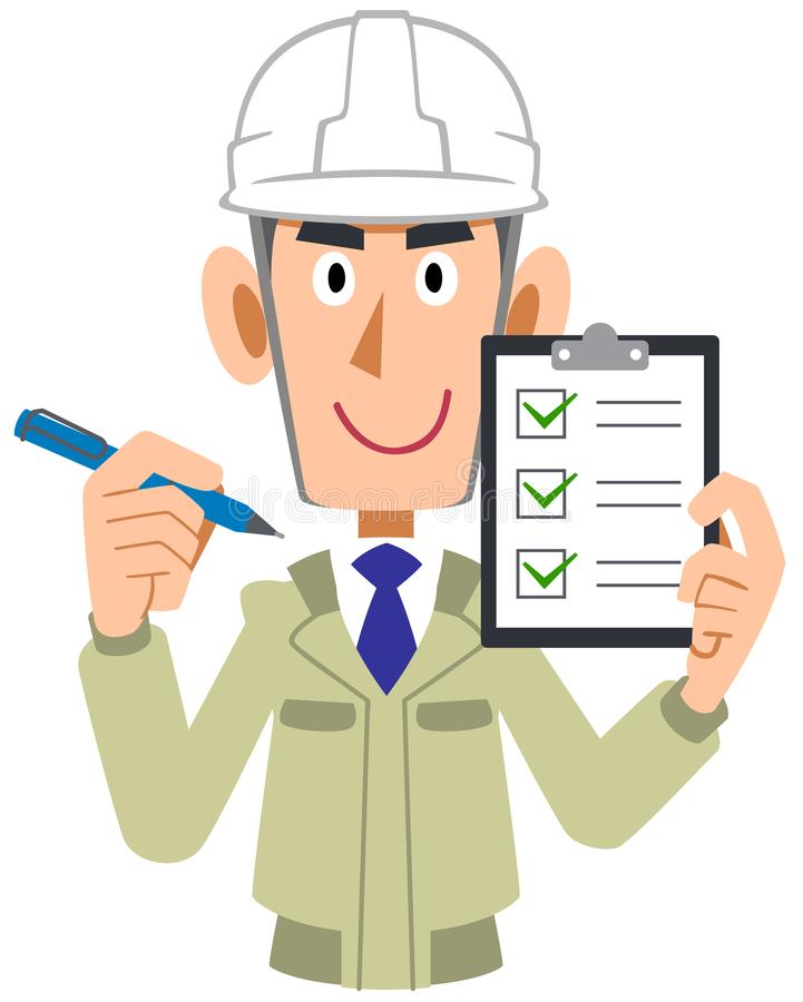 Man of the engineering firm which holds a check list in a hand, helmet. The image of a Man of the engineering firm which holds a check list in a hand, helmet vector illustration