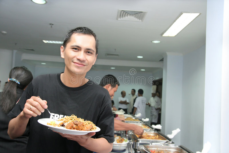Man Enjoy Buffet Stock Photo