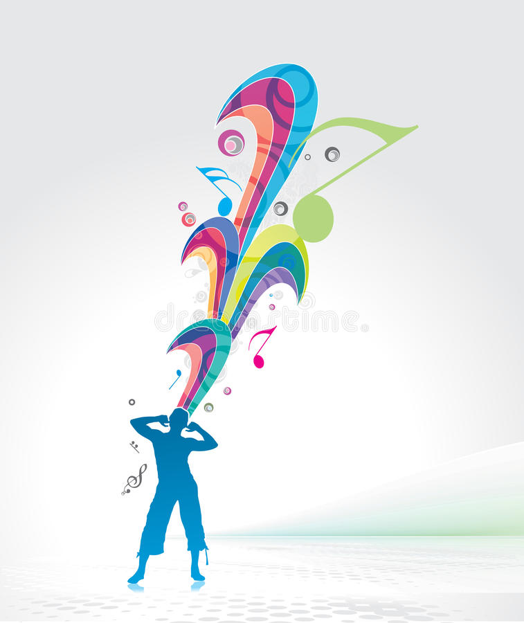 Download Man enjoy music stock vector. Illustration of note, male - 14501798