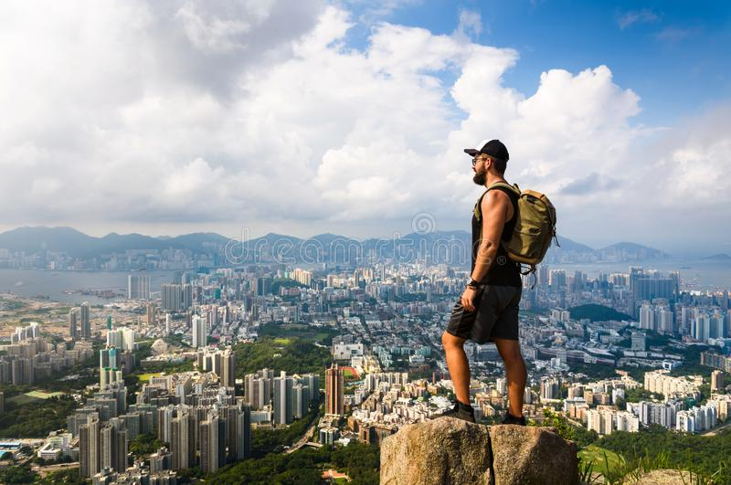Man enjoying Hong Kong view from the Lion rock stock photos