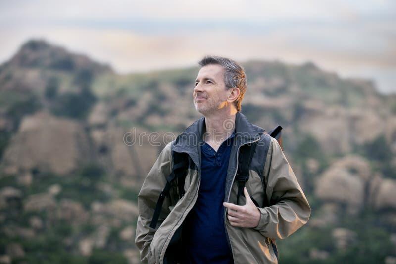 Man Enjoying Nature While Hiking on Vacation stock photos