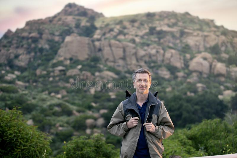 Man Enjoying Nature While Hiking on Vacation royalty free stock photography