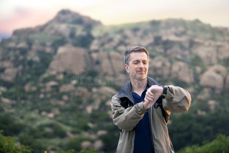 Man Enjoying Nature While Hiking on Vacation royalty free stock image