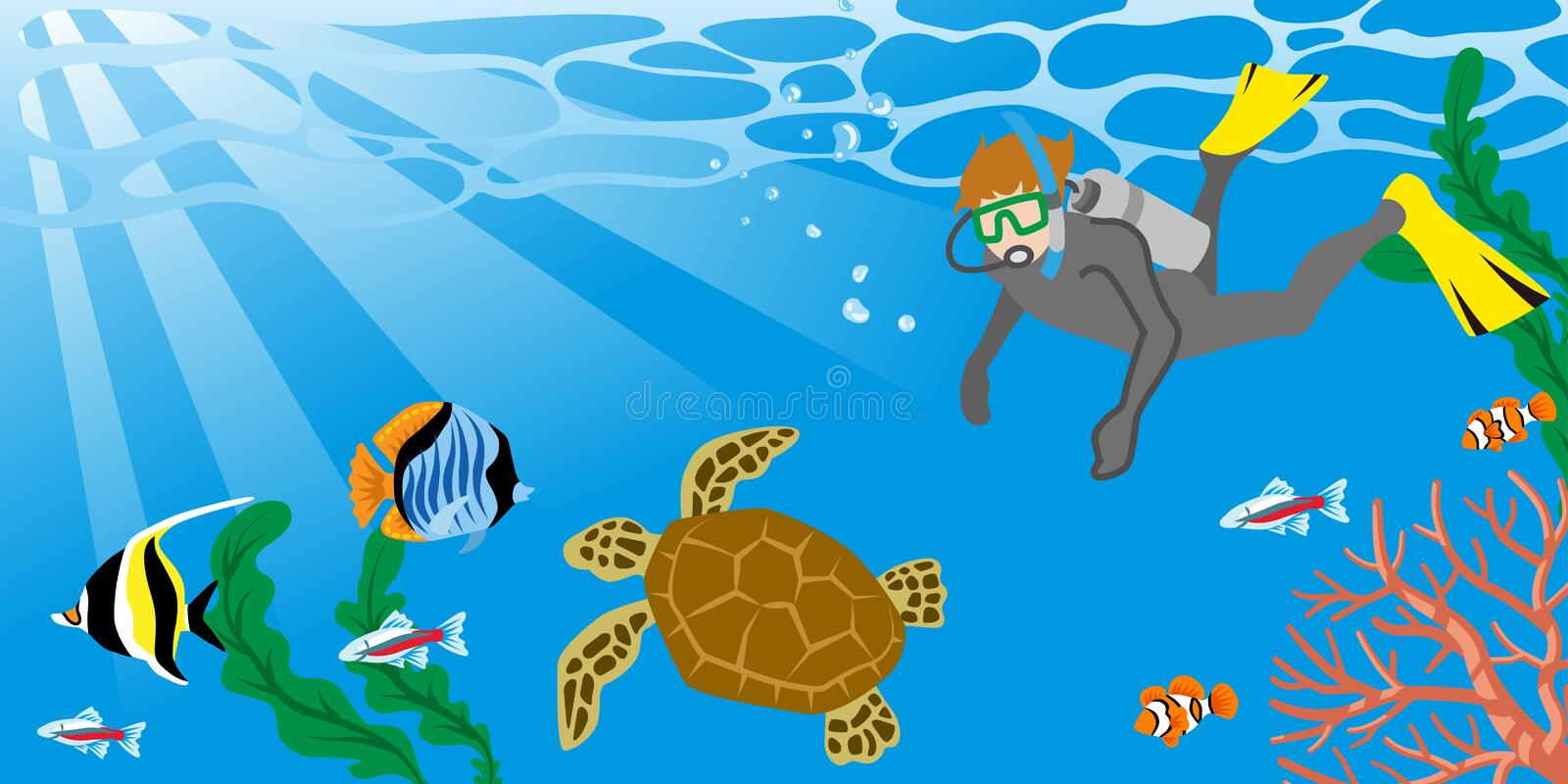 Man enjoying Scuba Diving with the Sea turtle royalty free illustration