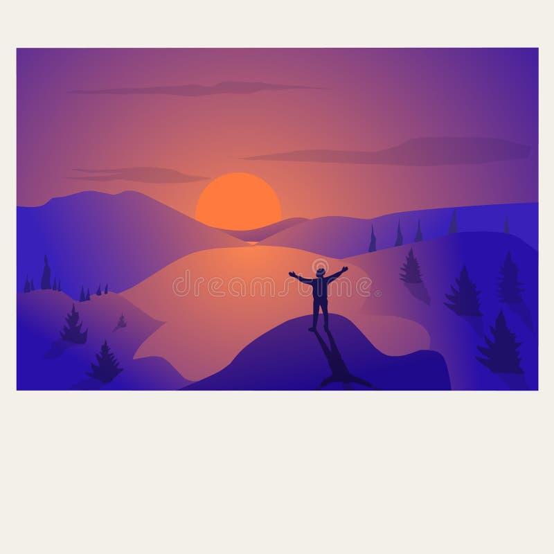 Man enjoying sunset royalty free illustration