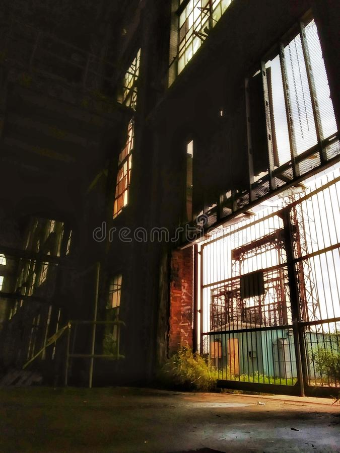 Man entrance to abandoned Market Street Power Plant. Under water shown here no longer submerged stock images