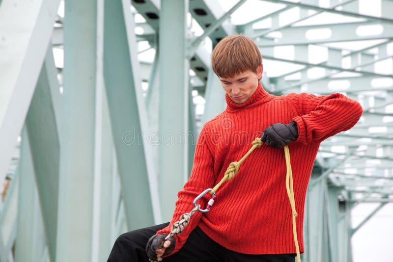 Download Man With Equipment Rope Bridge Stock Photo - Image: 12728768