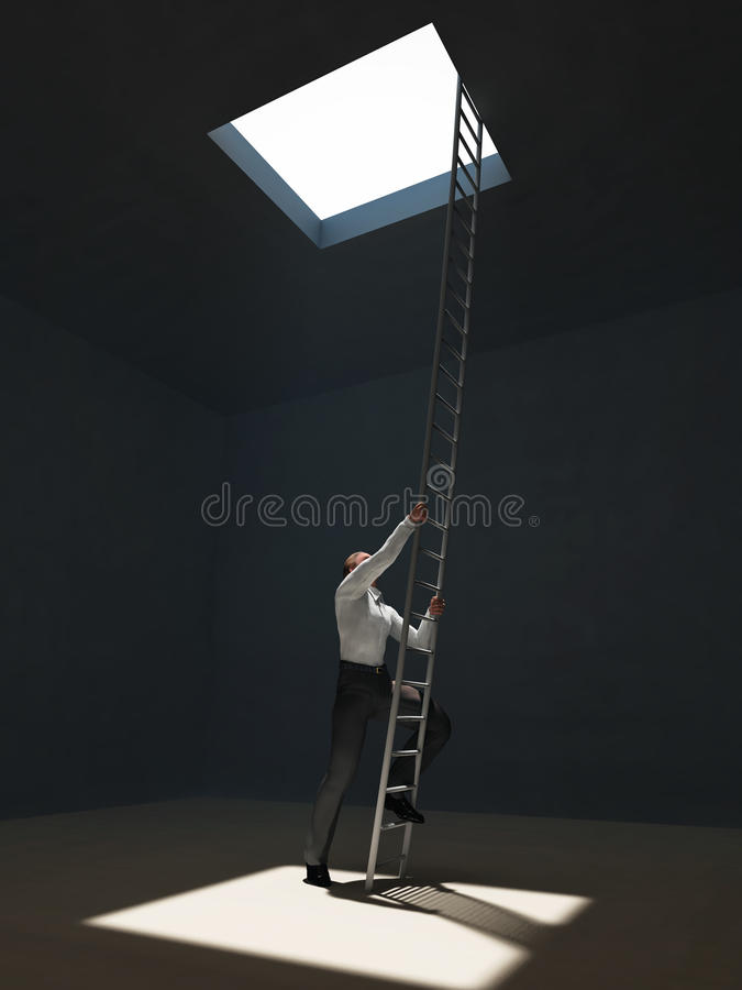 Man escape from dark room stock photo