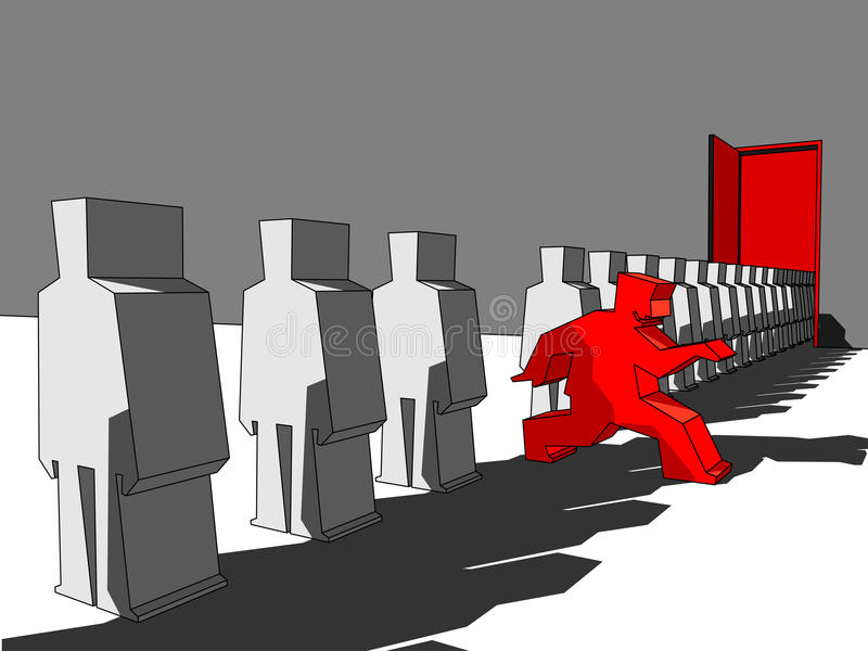 Man escaping the queue vector illustration