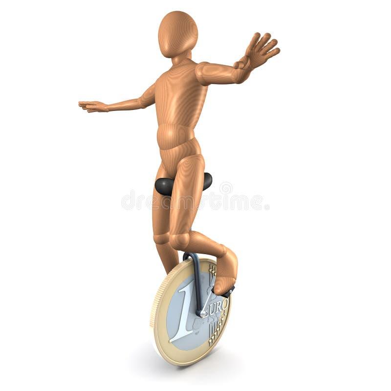 Man On Euro Unicycle Royalty Free Stock Image