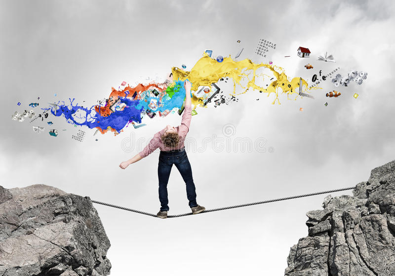 Man evading from items royalty free stock images