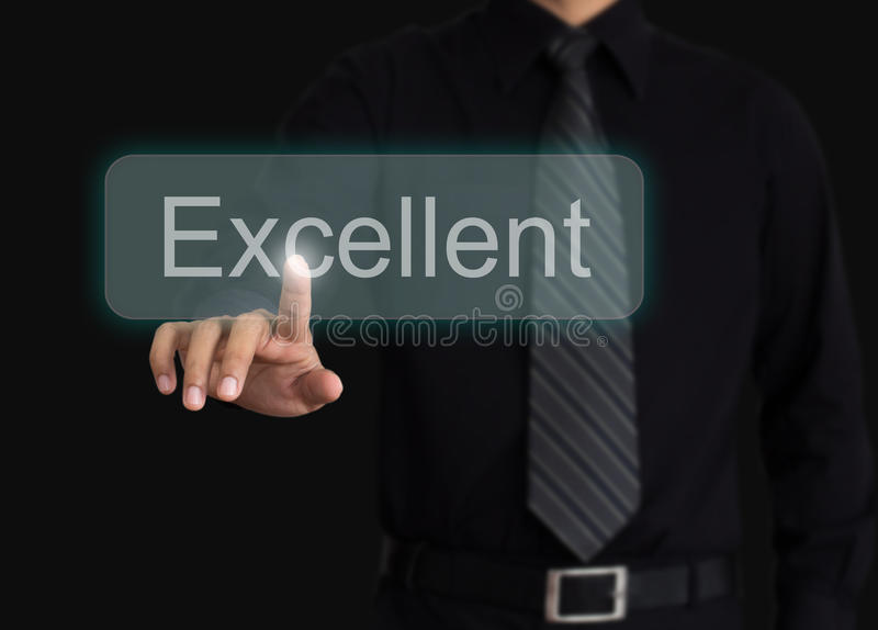 Man evaluate excellent quality stock photo