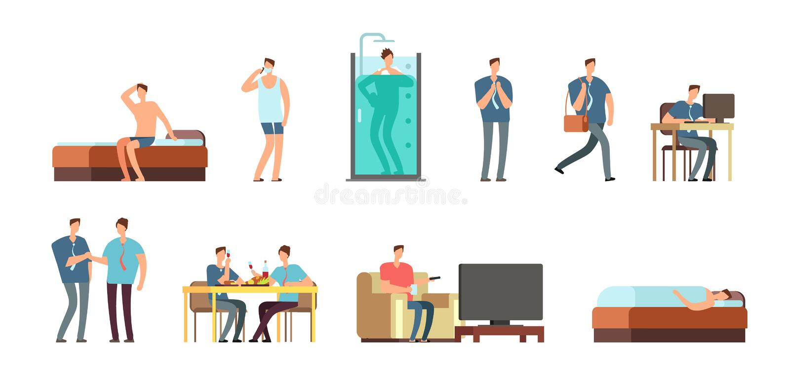 Man in everyday life. People daily routine vector cartoon businessman characters set. Work character everyday, man life and business illustration royalty free illustration