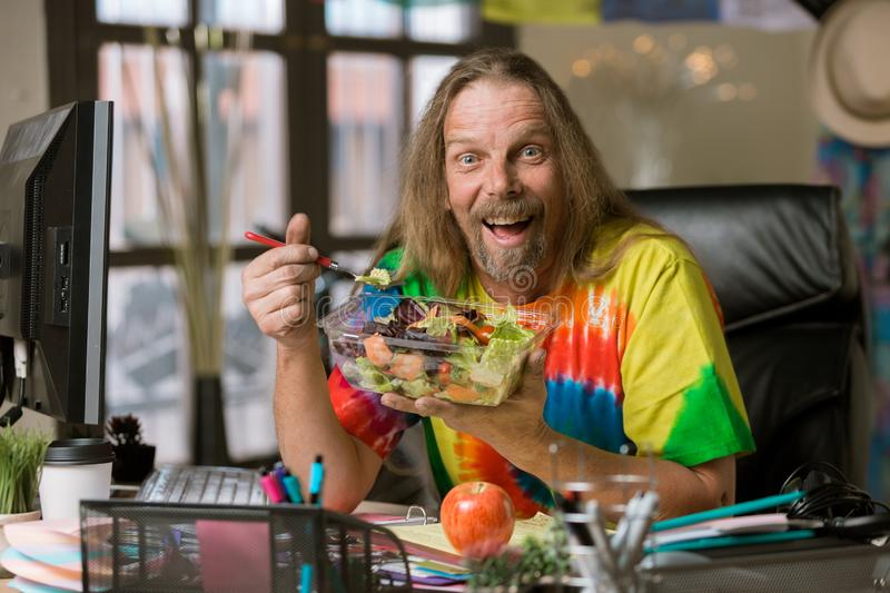 Man with Excited About His Healthy Lunch royalty free stock images