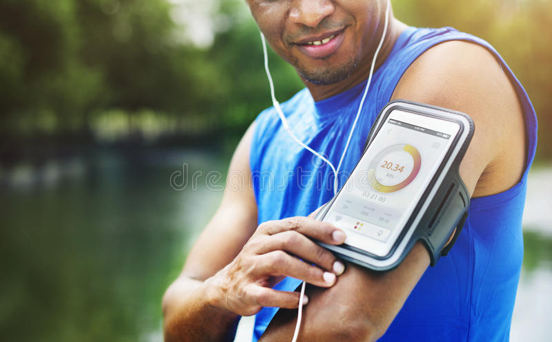Man Exercise Outdoors Nature Park Health Tracking Concept. Man Exercise Outdoors Nature Park Health Tracking Digital Device stock photos