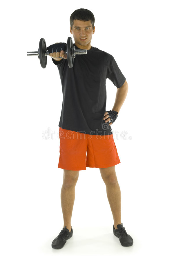 Man during exercising stock photo
