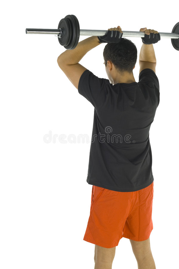 Man exercising with barbell stock images