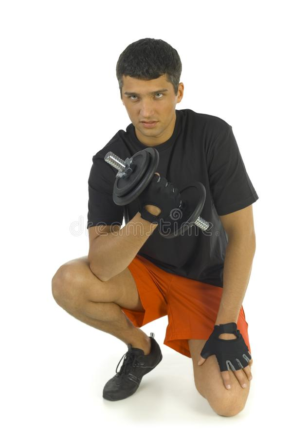 Man exercising with dumbbell royalty free stock photos
