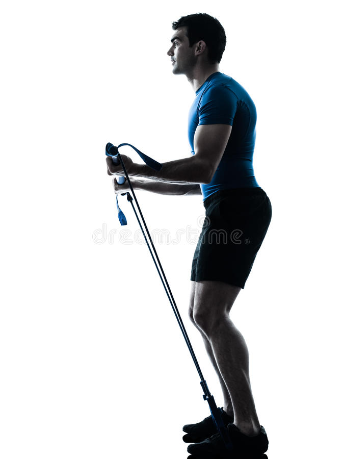 Download Man Exercising Gymstick Workout Fitness Posture Stock Image - Image of fitness, silhouette: 25225217