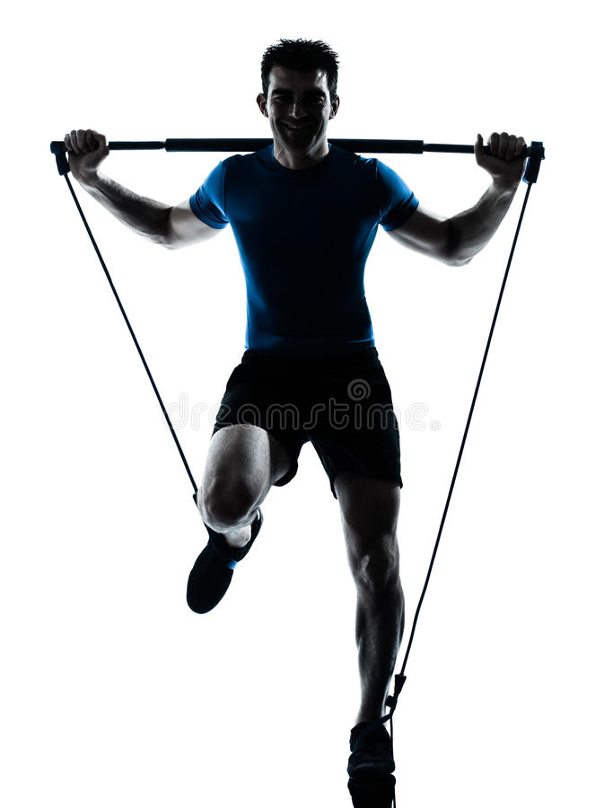 Download Man Exercising Gymstick Workout Fitness Posture Stock Image - Image of body, full: 26888381