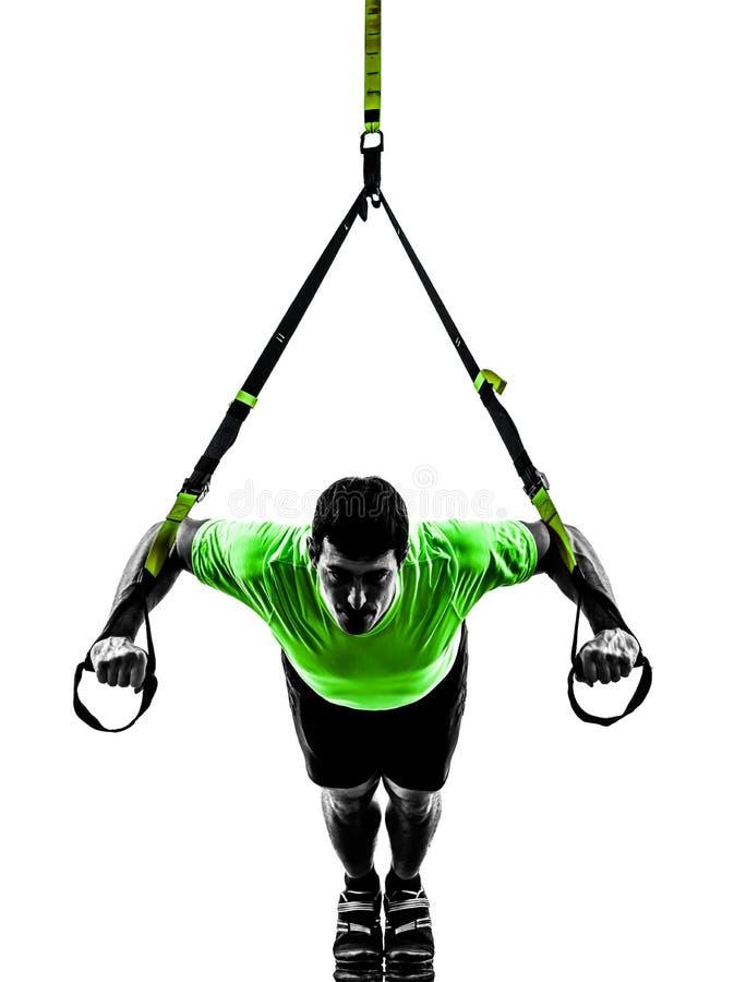 Free Man Exercising Suspension Training Trx Silhouette Stock Image - 31788981