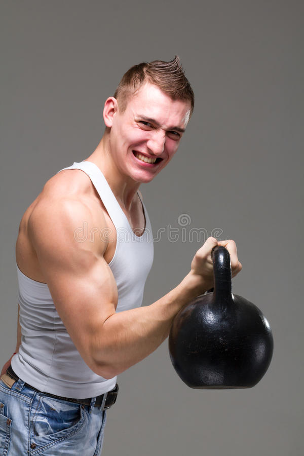 Man exercising weight training workout fitness stock image