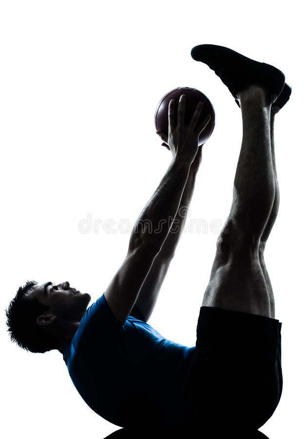 Download Man Exercising Workout  Fitness Ball Stock Image - Image: 25040813