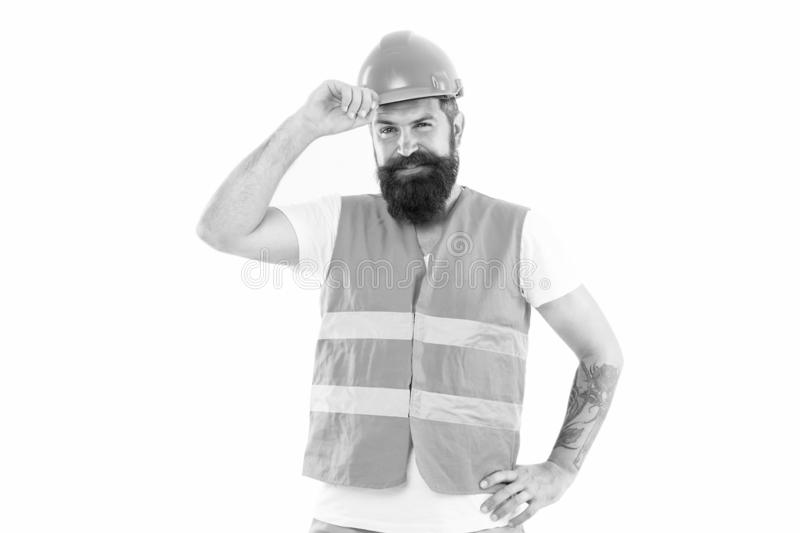 Man of experience. Man or workman isolated on white. Bearded man in work clothes. Happy construction worker or builder royalty free stock photo