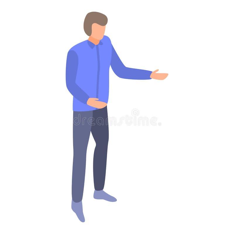 Man explain management icon, isometric style. Man explain management icon. Isometric of man explain management vector icon for web design isolated on white vector illustration