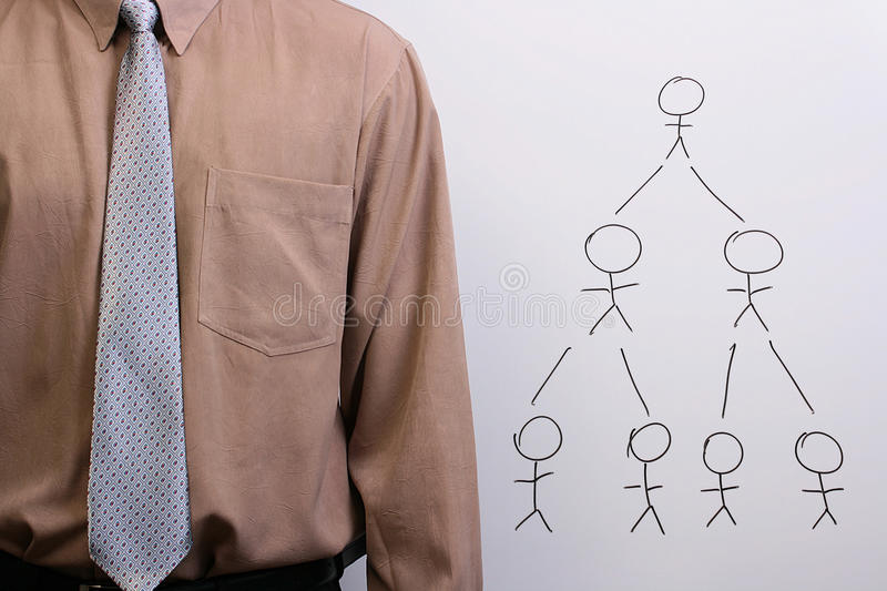 Man explaining human hierarchy. Man in a shirt and a tie explaining human hierarchy and creative collaboration stock photography