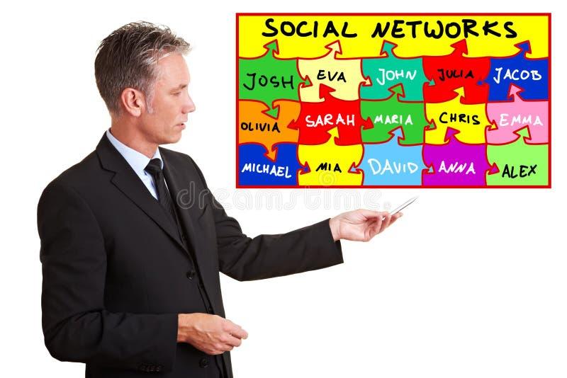Man explaining social networks. Senior business man explaining social networks with a chart royalty free stock images