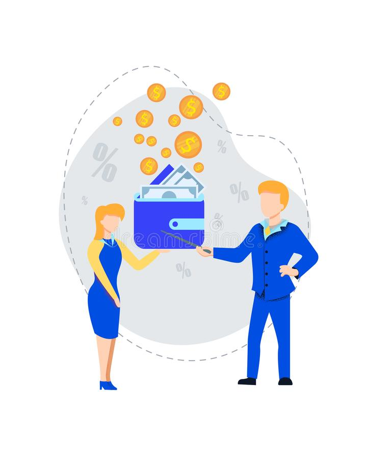 Man Explaining to Woman Money Handling Strategy. Business Man Pointing on Wallet with Bills Explaining to Young Woman Money Handling and Economy Profit vector illustration
