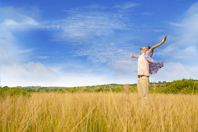 Man expressing his freedom royalty free stock images