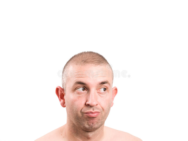 Man with expression of distrust. And looking at side isolated on white background royalty free stock photography