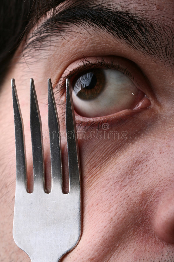 Download Man eye and fork stock image. Image of vengeance, fork - 4121791