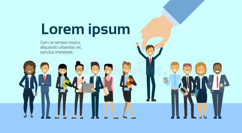 Man för affär för rekrythandplockning för begrepp för vakansJob Position Human Resources And rekrytering stock illustrationer