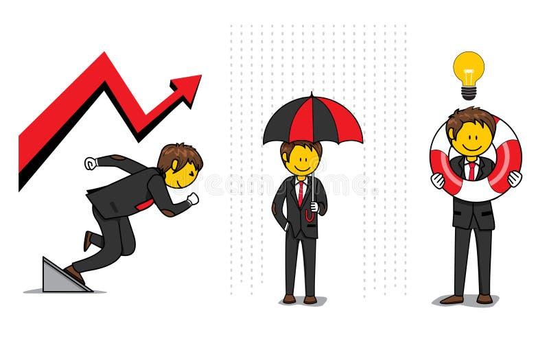 Man för affärslivförsäkringhjälp vektor illustrationer