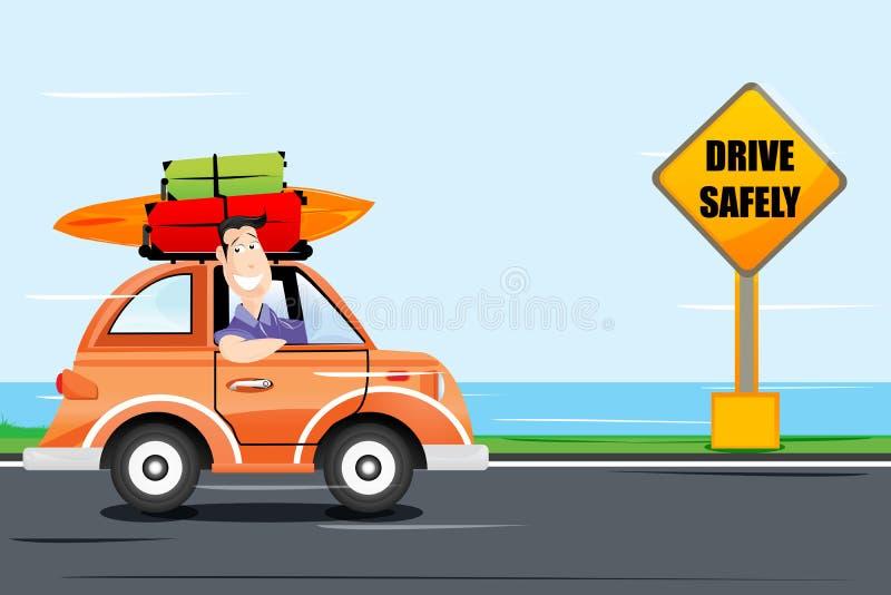 man för bilkörning långt vektor illustrationer