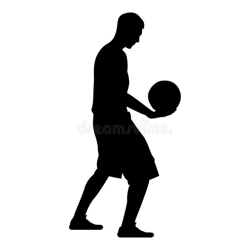 Man för boll för innehav för basketspelare som rymmer illustrationen för färg för svart för basketkontursymbol vektor illustrationer