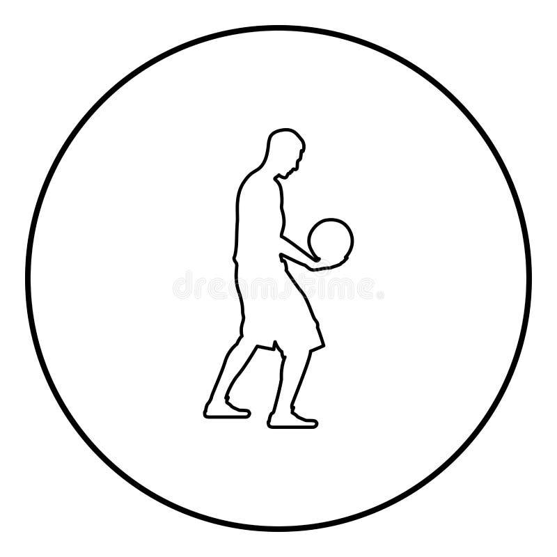 Man för boll för innehav för basketspelare som rymmer illustrationen för färg för svart för basketkontursymbol i cirkelrunda royaltyfri illustrationer