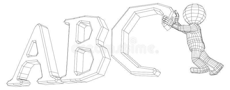 Man för docka 3d med alfabet royaltyfri illustrationer
