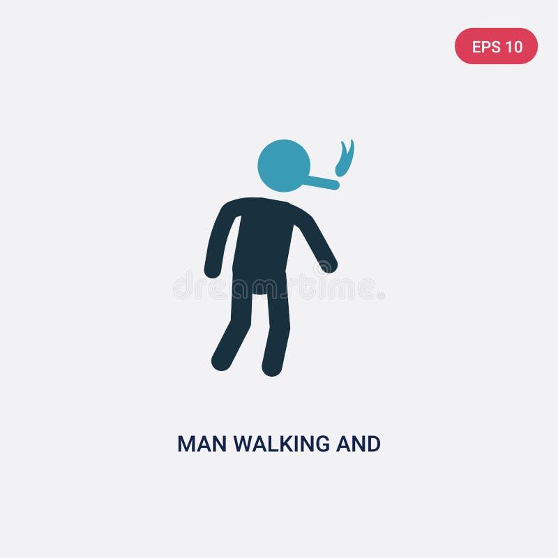Man för färg som två går och röker vektorsymbolen från folkbegrepp den isolerade blåa mannen som går och röker vektorteckensymbol stock illustrationer
