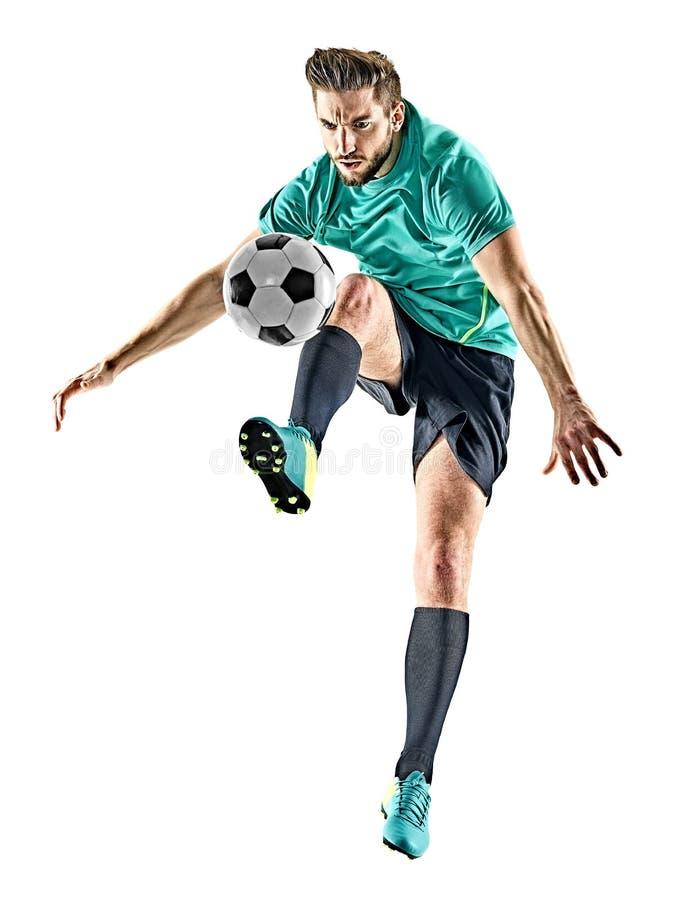 Man för fotbollspelare som jungling isolerad vit bakgrund arkivbilder
