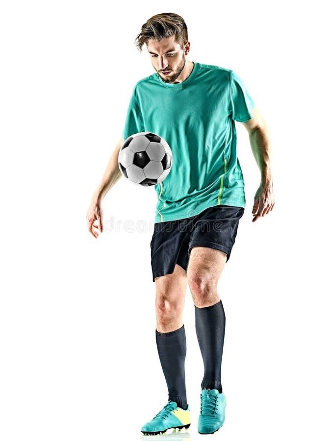 Man för fotbollspelare som jungling isolerad vit bakgrund royaltyfri bild
