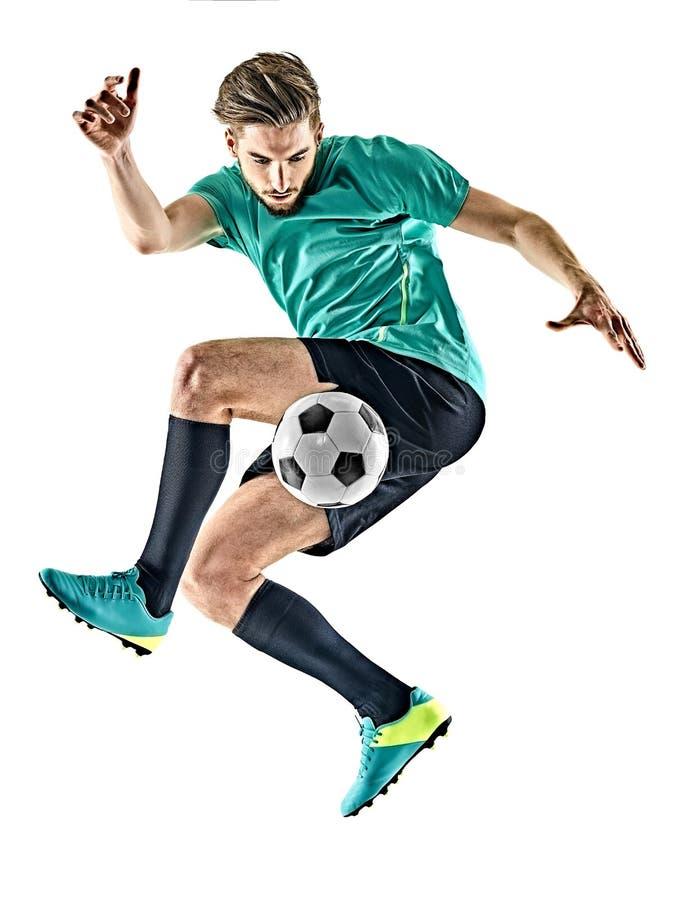 Man för fotbollspelare som jungling isolerad vit bakgrund arkivbild