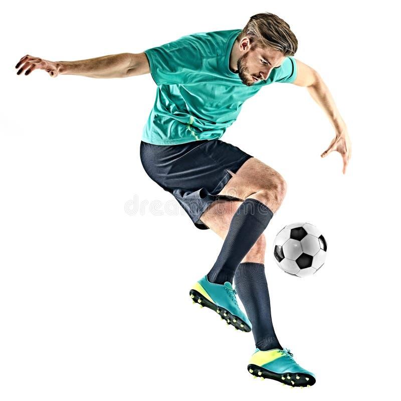 Man för fotbollspelare som jungling isolerad vit bakgrund fotografering för bildbyråer