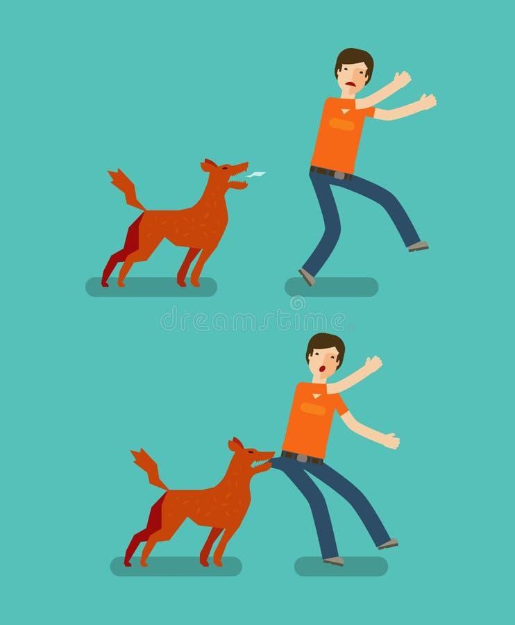 Man för hundtugga den främmande tecknad filmkatten flyr illustrationtakvektorn stock illustrationer